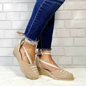 ⚡SALE! Paseart Cream Lace Up Espadrille Wedges